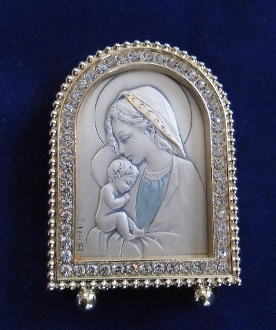 Mother Mary and Child Sterling Silver Picture Gold Crystals
