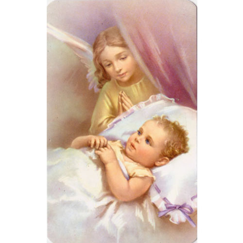 Angel With Baby Holy Card (1)