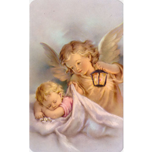 Angel With Baby Holy Card (2)