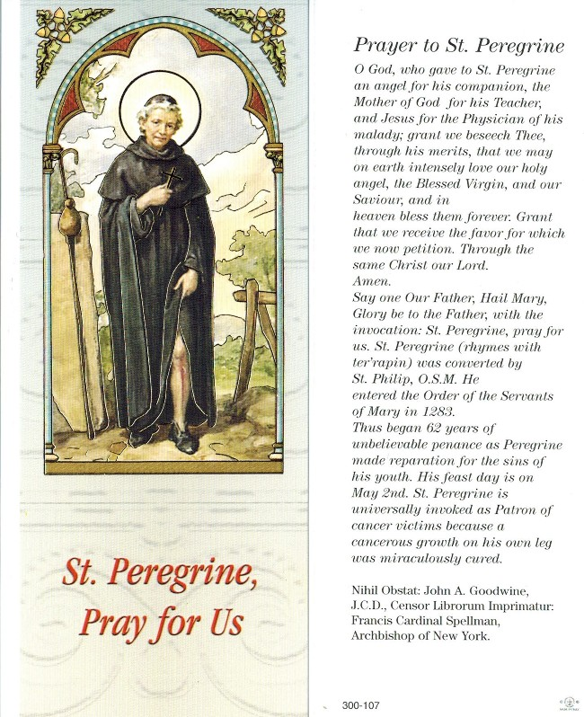 St. Peregrine Bookmark
