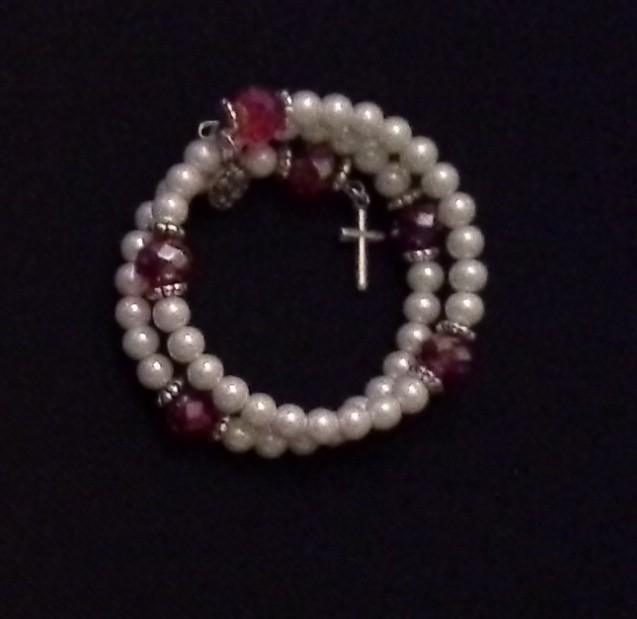 Pearl and Ruby Rosary Bracelet