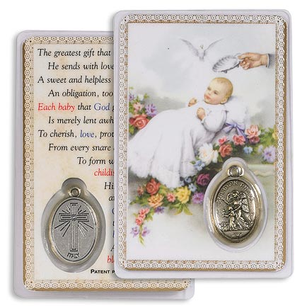 Baptism Holy Card with Medal