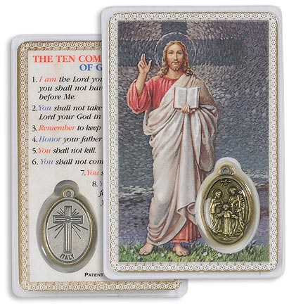 Blessing Christ Holy Card with Medal