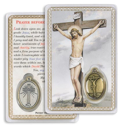 Crucifixion Holy Card with Medal