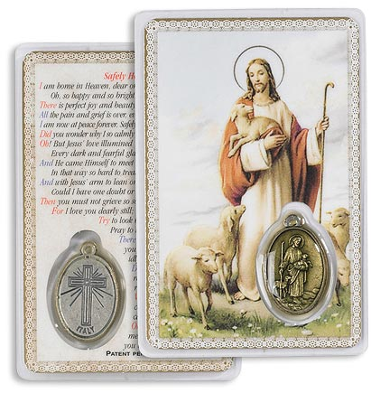 Good Shepherd Holy Card with Medal