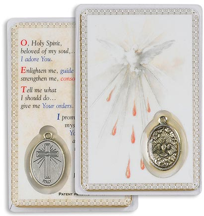 Paraclete /Confirmation Holy Card with Medal