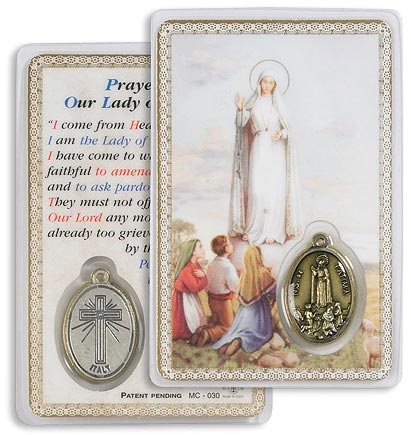 Our Lady Fatima Holy Card with Medal