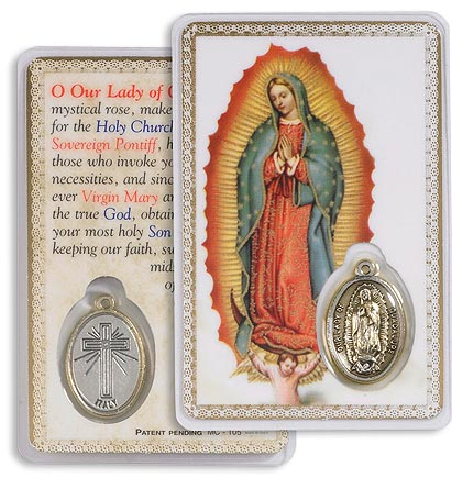 Our Lady of Guadalupe Holy Card with Medal