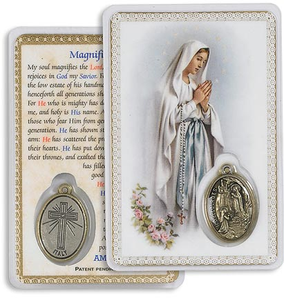 Our Lady of the Rosary Holy Card with Medal