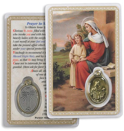 St Ann Holy Card with Medal