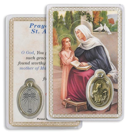Saint Anne Holy Card with Medal