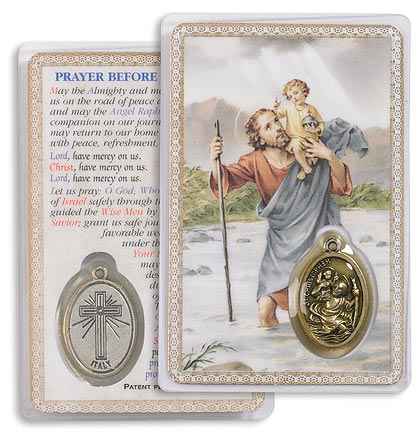 St Christopher Holy Card with Medal