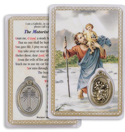 Saint Christopher Holy Card with Medal