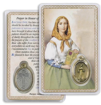 Saint Dymphna Holy Card with Medal