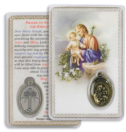 Saint Joseph Holy Card with Medal