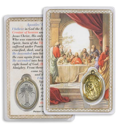 The Last Supper Holy Card with Medal