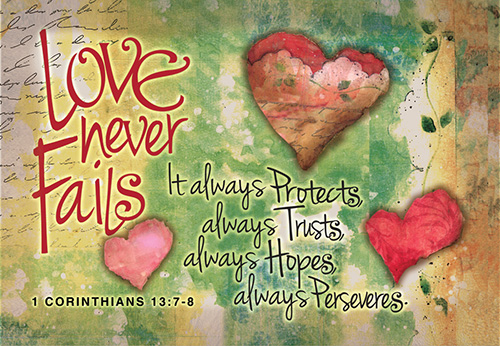 Pass It On Cards: Love Never Fails (8 pack)