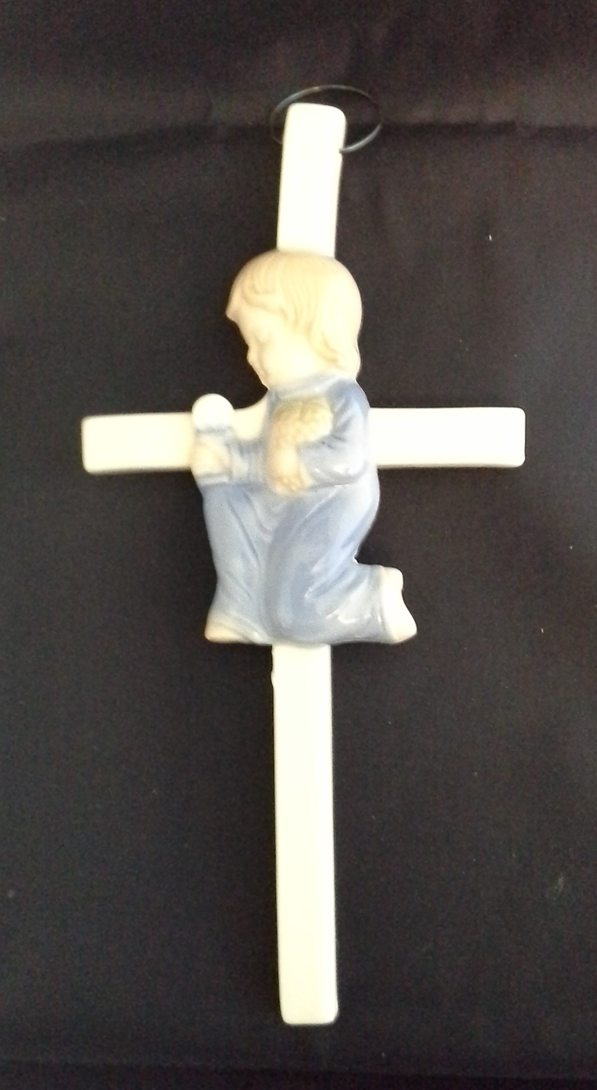 Porcelain Communion Cross: Boy