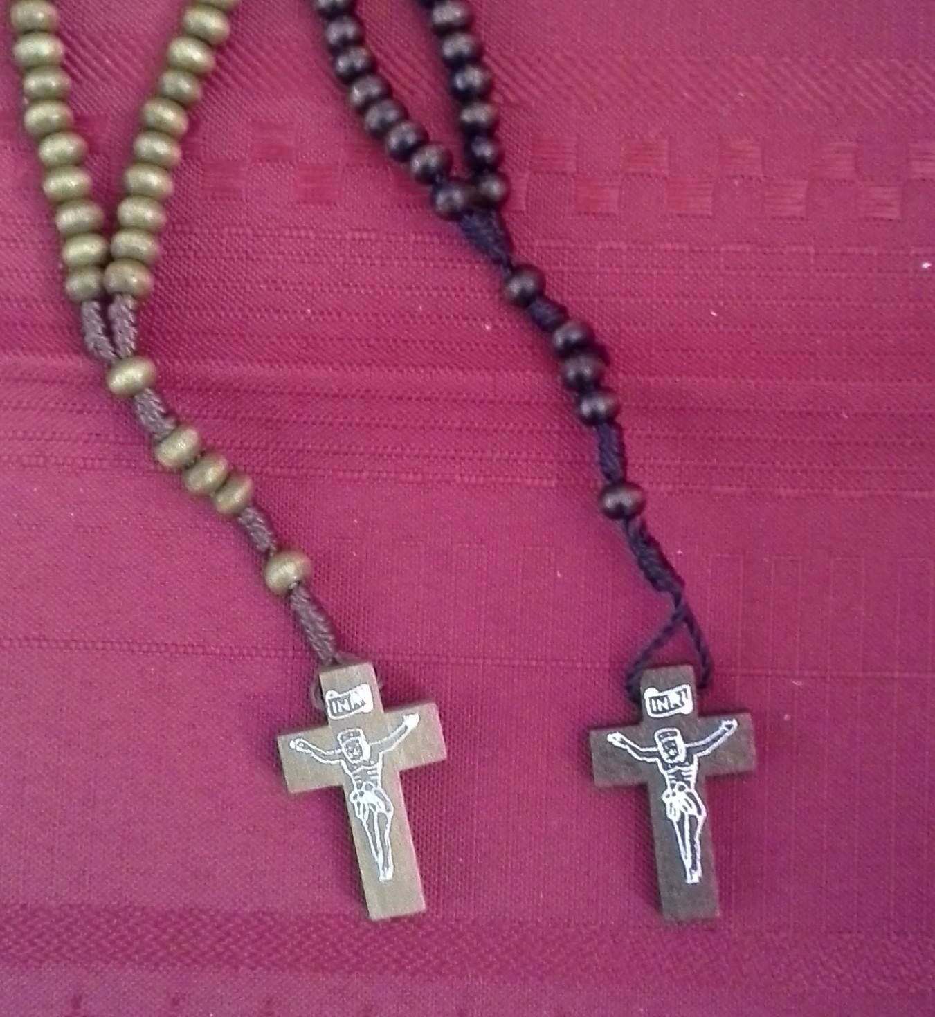 Brown Wood Bead Cord Rosary