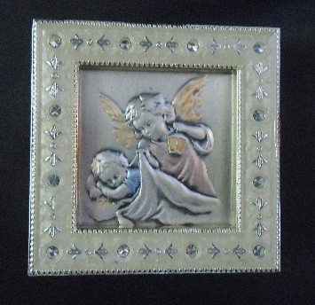 Salerni Angel with Child Silver Enamel Picture