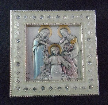 Salerni Traditional Holy Family Silver Enamel Picture