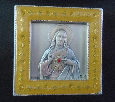Salerni Sacred Heart Gold Enamel