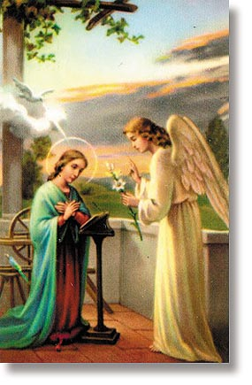 Annunciation/ Angelus Wallet Size Holy Card
