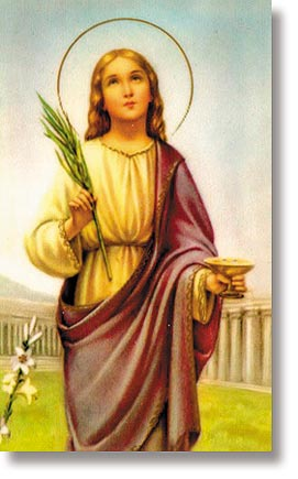 St Lucy Wallet Size Holy Card